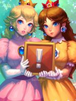Peach and Daisy, old ver. by bellhenge