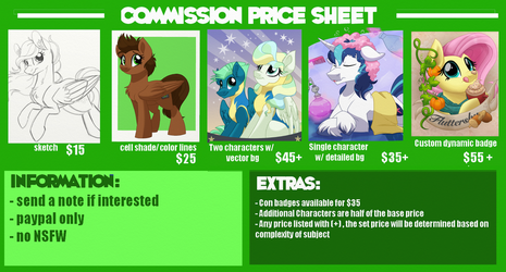 Commission Price Sheet 2017 (1 of 2) by ItsTaylor-Made