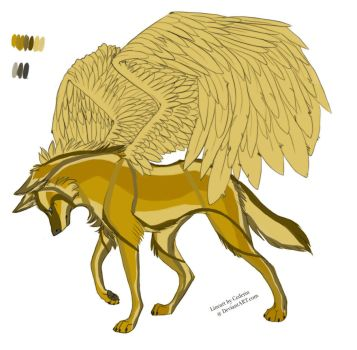 Winged wolf yellow by Aniblue24
