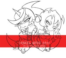 Scanty and Kneesock lineart by Tanael