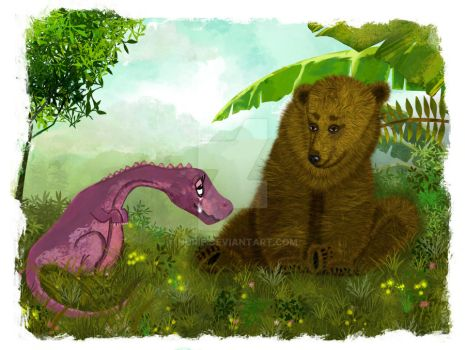 Bear and the dino by nurie