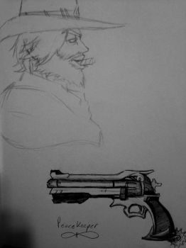 Overwatch: McCree Sketch by OokamiWarrior1234