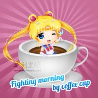 Fighting Morning By Coffee Cup by mornie-art