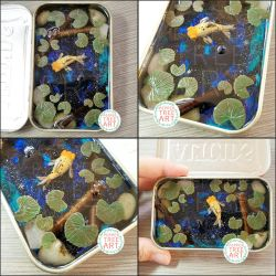 Commission - Galaxy Goldfish Tin Pond by PepperTreeArt