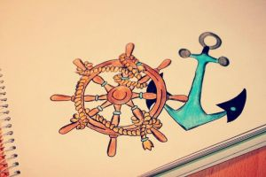 Wheel Anchor Drawing by auriedessin