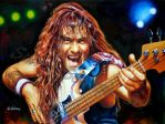 Steve Harris portrait painting iron Maiden poster by SpirosSoutsos
