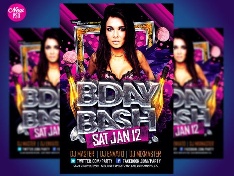 Birthday Bash Flyer Template by Industrykidz