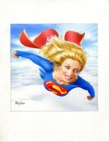 Supergirl Vs. Card Painting by mikemayhew