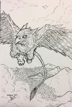 Inktober Day 23- Griffin~  by Cerlinna