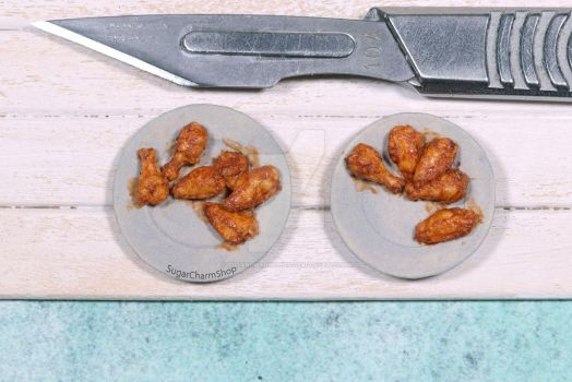 1:12 miniature chicken wings - miniature food by sugarcharmshop