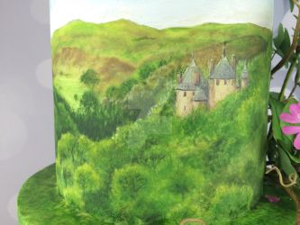 Castle coch painting on wedding cake  by Dragonsanddaffodils