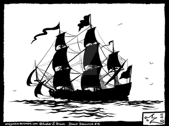 Daily Drawing 0016 - Ship, c.1700 by Amarynceus