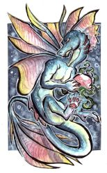 ACEO - Adopt a pearl Dragon by LeoDragonsWorks