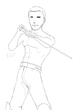 Shirtless Swordsman by Stele007