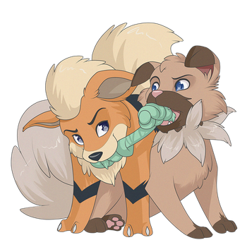 Growlithe and Rockruff by Sugarcup91