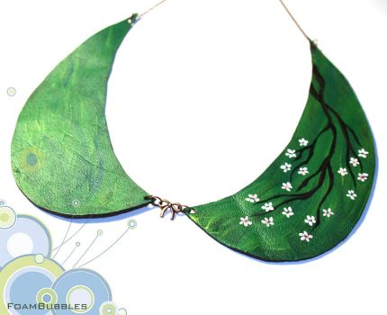 Leather Collar Necklace with a blossom branch by FoamBubbles