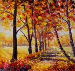 Sunny autumn landscape  - Impasto Oil Painting by rybakow