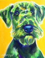 Apple Green Airedale Terrier by dawgart