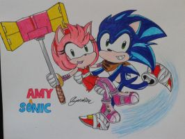 SONIC BOOM: Amy and Sonic by AyanoHiMe