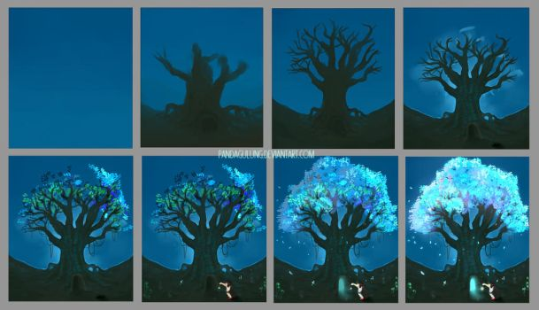 Step by Step - Magical Beringin Tree by pandagulung