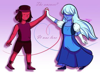 Ruby and Sapphire by drawingwolf17