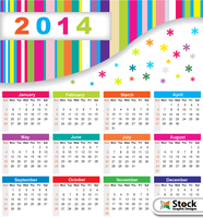 Colorful Calendar 2014 Vector Free by Stockgraphicdesigns