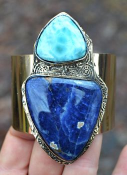 Larimar And Sodalite Cuff by songofabanshee