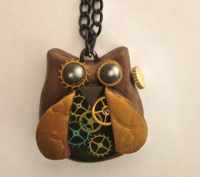 Steampunk Owl Necklace by FantasyDesigns1