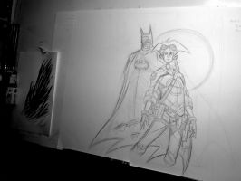 Batman and Ryan Pencils by OilCanDrive