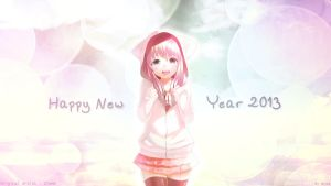 HD Wallpaper_Happy New Year 2013_Neko Girl by Takuneru