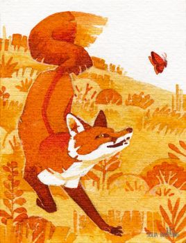 Tiny Inklings - Frolicking fox by Gnulia