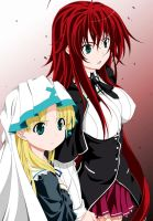 Asia Argento and Rias Gremory by Maximilian-Destroyer