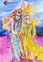 Nyarlathotep and Hastur in colour by WhiteLedy