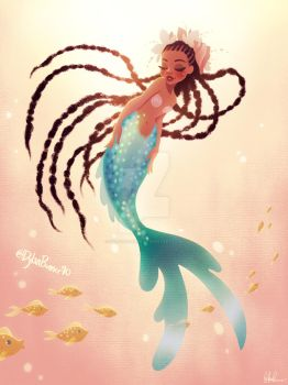 Mermaid With Long Braids by DylanBonner