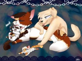 Adan and kacey with their first litter. twinsies by KaeKabKun