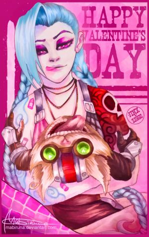 Jinx/Ziggs valentine's day card :D by Mabiruna