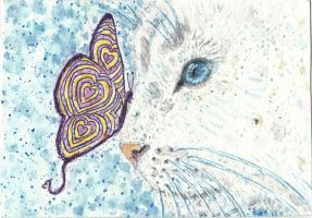 Snowflake  white cat  butterfly watercolor by tulipteardrops