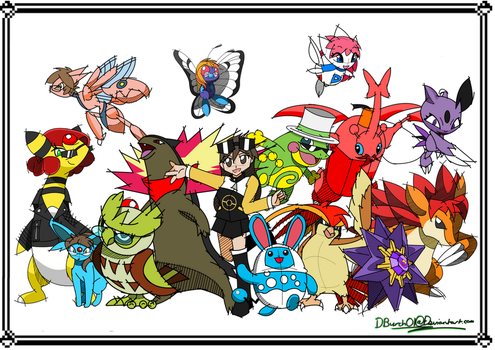 Pokemon Crystal finale groupshot by DBurch01