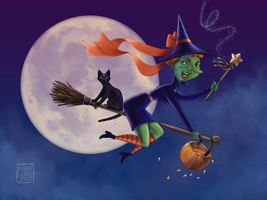 Flying Halloween Witch by Nyrak