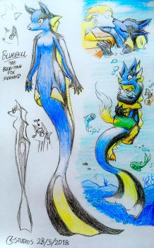 Bluebell the Blue-Tang Fox Mermaid by C-Studios
