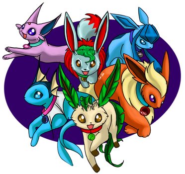 Commission - Eevee Planeteers by CheezieSpaz