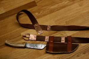 Early medieval belt and knife by Dewfooter