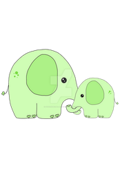 Cute Elephant with baby elephant by stockmichelle