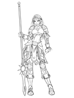 Imelda Allwarrior, Armored Maiden - Sketch by RoninDude