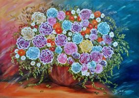 Chrysanthemums and gestural roses by adreamerchild