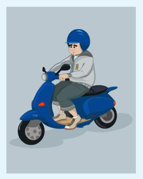 blue vespa by berill
