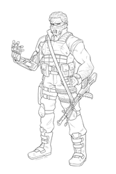 Commission: Sci-fi Mercenary lineart by Furin94