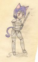 cat-girl warrior by JofDragon