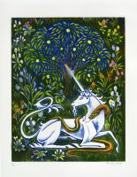The Unicorn and Snake Embrace in the Garden by AmandaMyers