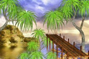 Island with Jetty by oldhippieart